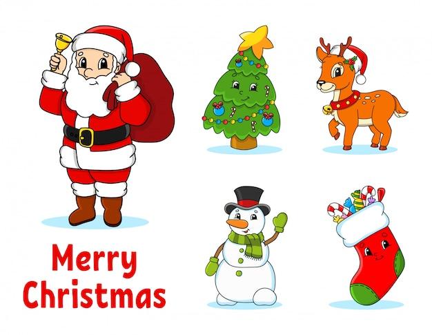 Reihe von comic-figuren. märchenbaum, santa claus mit geschenken, niedlichen rotwild, schneemann, socke mit geschenken und bonbons.