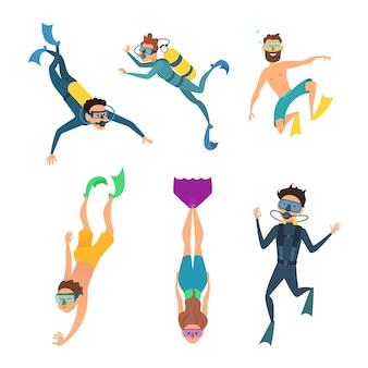 Reihe von comic-figuren. unterwasser taucher