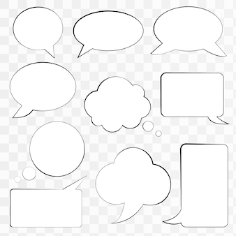 Reihe von comic-sprechblasen