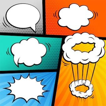Reihe von comic-strip mit chat-blasen