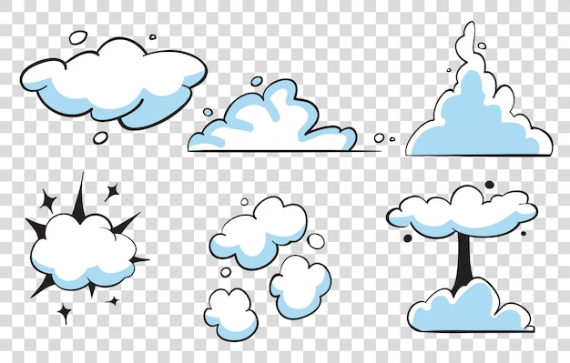 Reihe von comic-wolken