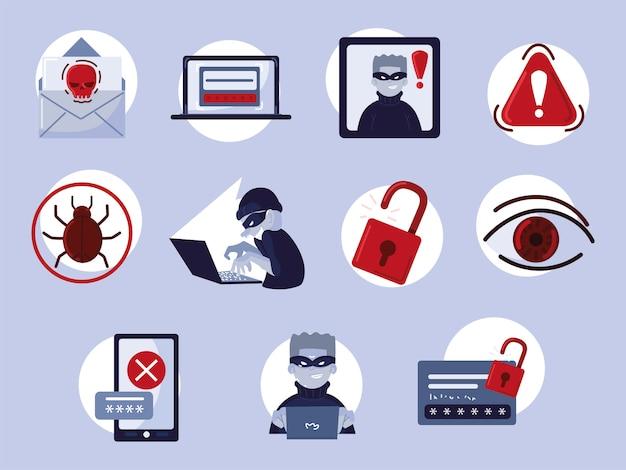 Reihe von cyberkriminalität