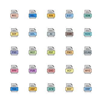 Reihe von dateiformaten icons
