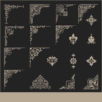 Reihe von dekorativen eckelementen