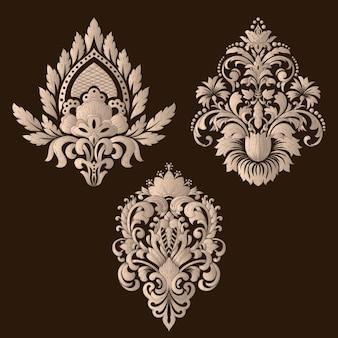 Reihe von dekorativen elementen aus damast.