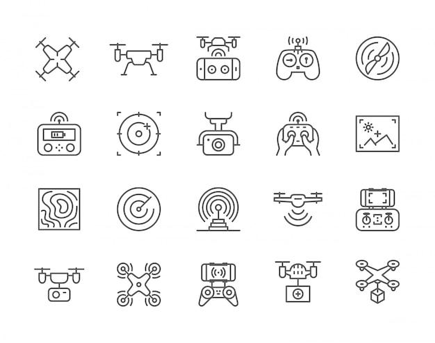 Reihe von drone line icons.