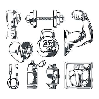 Reihe von elementen für einen gesunden lebensstil zum erstellen eigener abzeichen, logos, etiketten, poster usw.