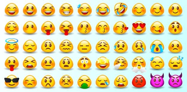 Reihe von emoticons. set von emoji. isoliert.