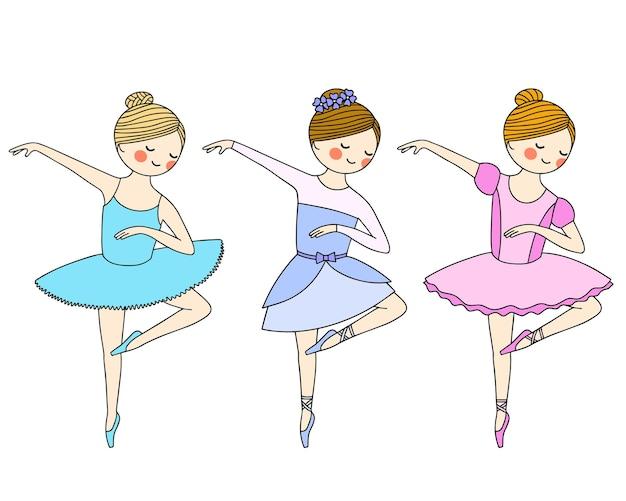 Reihe von farbbildern auf weißem hintergrund. schöne kleine ballerina in spitzenschuhen und kleid. vektor
