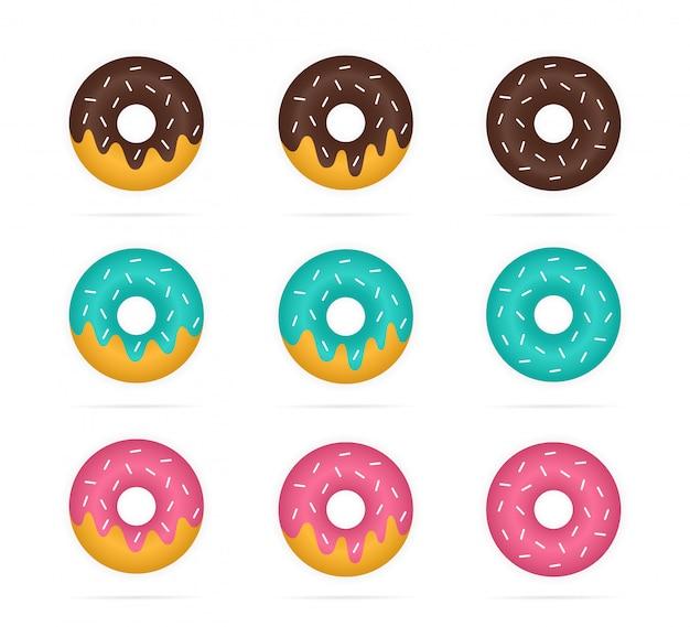 Reihe von farbigen donuts im realistischen stil.