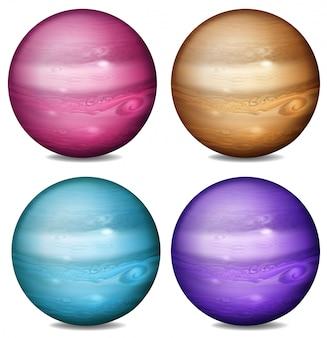 Reihe von farbigen planeten