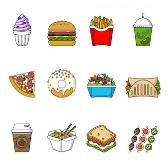 Reihe von fast-food-icons. getränke, snacks und süßigkeiten.