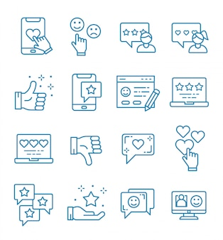 Reihe von feedback-icons mit umriss-stil