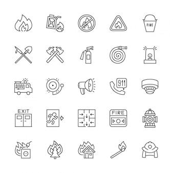 Reihe von feuerwehrmann linie icons. feuerwehrmann, evakuierungsplan, hydrant und mehr.