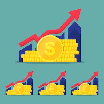Reihe von finanziellen performance, statistik-bericht, steigerung der produktivität des unternehmens, investmentfonds