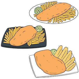 Reihe von fisch und chips