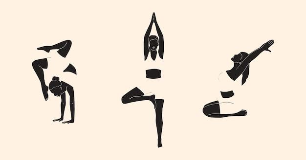 Reihe von frauen in verschiedenen yoga-posen entspannung moderne kunst
