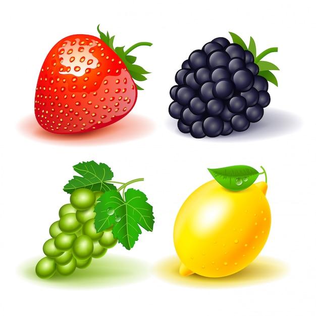 Reihe von früchten: erdbeeren, blackberry, trauben und zitrone. isoliert
