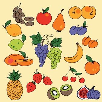 Reihe von früchten icons