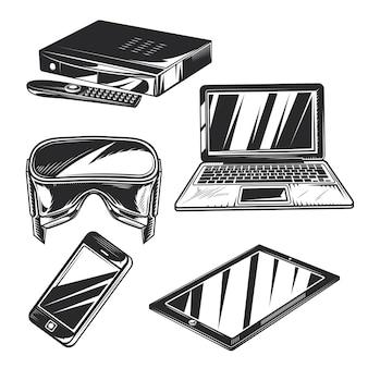 Reihe von gadgets zum erstellen eigener abzeichen, logos, etiketten, poster usw.