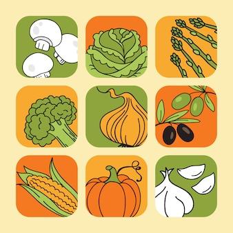 Reihe von gemüse-icons