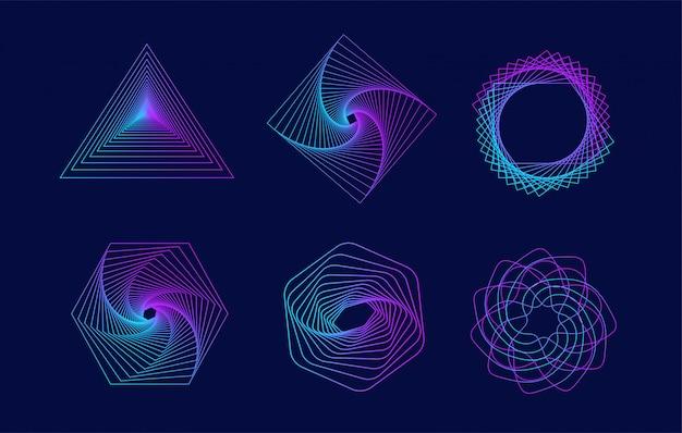 Reihe von geometrischen elementen.
