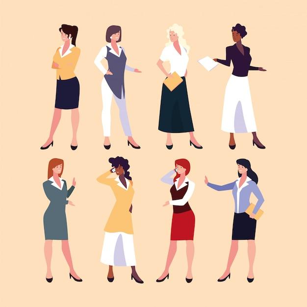 Reihe von geschäftsfrauen mit verschiedenen ansichten, posen und gesten