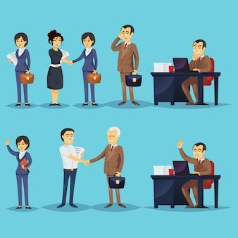 Reihe von geschäftsleuten und erfolgreichen unternehmern