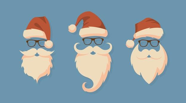 Reihe von gesichtern mit weihnachtsmützen, schnurrbart und bärten. weihnachts-weihnachtsmann-gestaltungselemente.