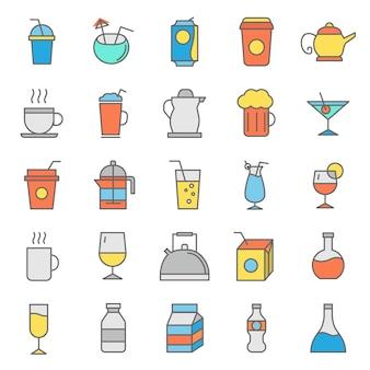 Reihe von getränken gläser symbol