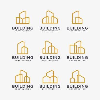 Reihe von goldenen logo-designs für gebäude. baulogo-design mit strichzeichnungen.