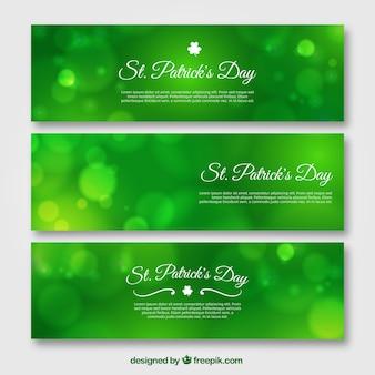 Reihe von grünen banner bokeh von heiligen patrick tag
