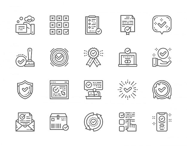 Reihe von häkchen und genehmigen linie icons.