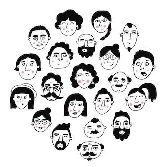 Reihe von handgezeichneten gesichtern der völker