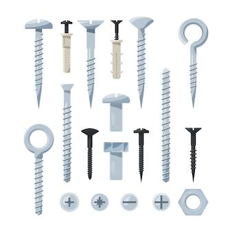 Reihe von hardware-tools, eisenschrauben, muttern, nägel und schrauben