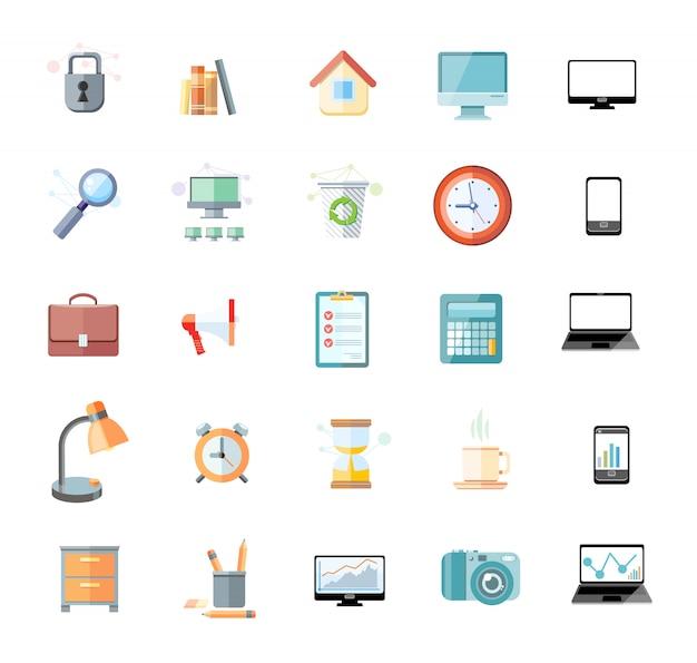 Reihe von icons für office- und zeitmanagement mit digitalen geräten und office-objekten