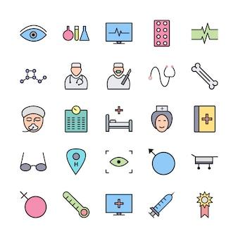 Reihe von icons mit medizinischen thema