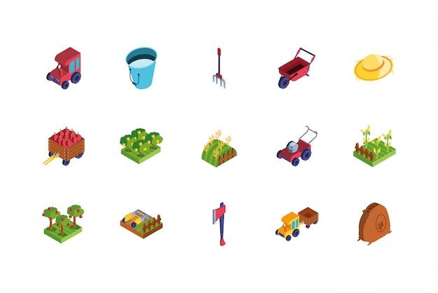 Reihe von icons von bauernhof