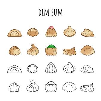 Reihe von icons von dim sum. farbe und umriss. heißes essen