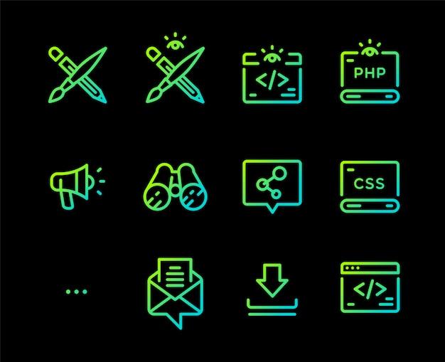Reihe von icons von verschiedenen berufen.