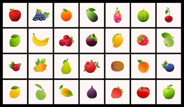 Reihe von illustrationen im modernen stil von früchten