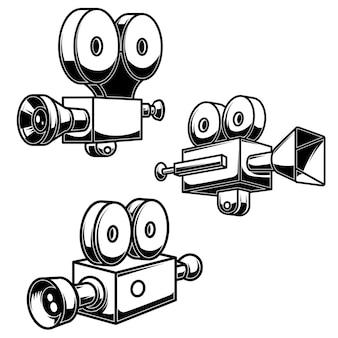 Reihe von illustrationen von vintage-camcordern. gestaltungselement für poster, logo, label, schild, abzeichen. vektor-illustration