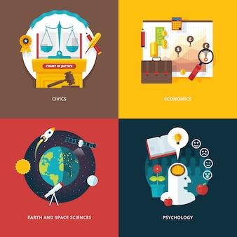 Reihe von illustrationskonzepten für staatsbürgerkunde, wirtschaft, geo- und weltraumwissenschaften, psychologie. bildungs- und wissensideen. konzepte für webbanner und werbematerial.