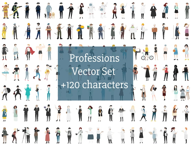 Reihe von illustrierten menschen
