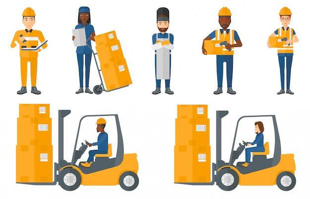 Reihe von industriearbeitern.