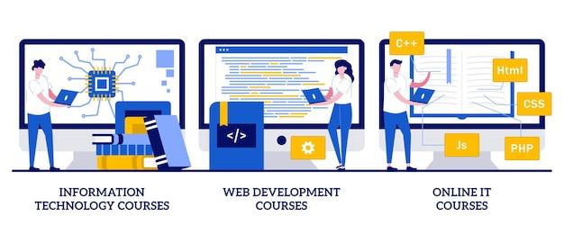Reihe von informationstechnologiekursen, webentwicklungskursen, online-it-kursen, fernstudium