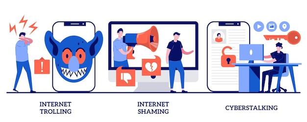 Reihe von internet-trolling, digitalem scham, cyberstalking, aggressivem verhalten in sozialen medien