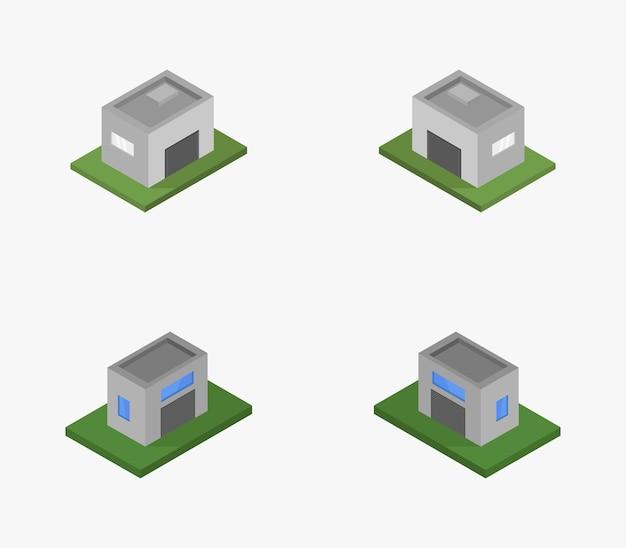 Reihe von isometrischen garagen