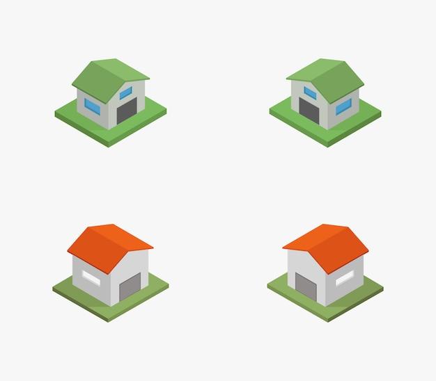 Reihe von isometrischen häusern mit garage