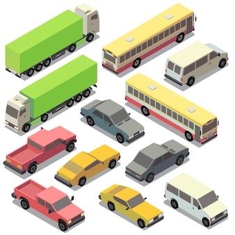 Reihe von isometrischen städtischen verkehr. autos mit den schatten getrennt auf weißem hintergrund. lkw,